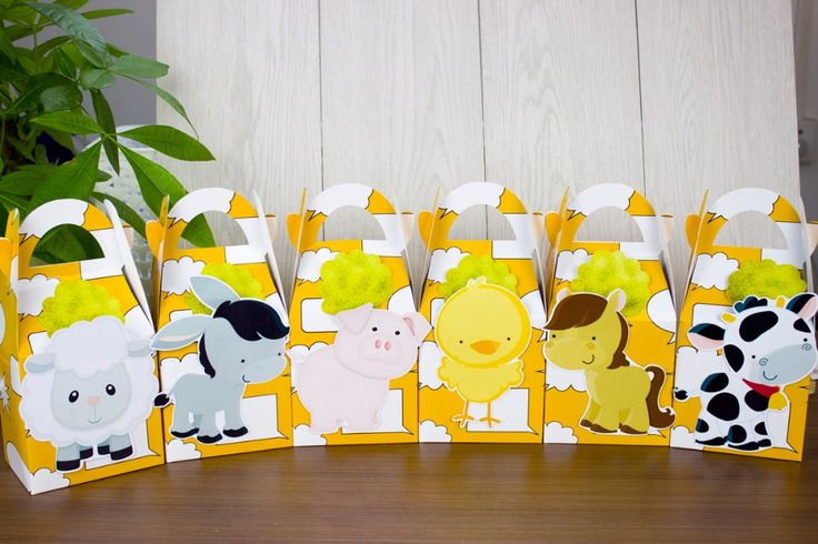 12PCS Baby Shower Favors Farm Animal Favor Box Candy Box Souvenir Boy/Girl Kids Event & Party Supplies