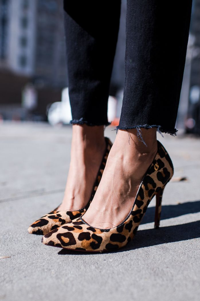 STYLE ME GRASIE - American Apparel Distressed Black Denim, Carmen Steffens Leopard print pumps / Perfect Street Style for Spring. OOTD Blogger.