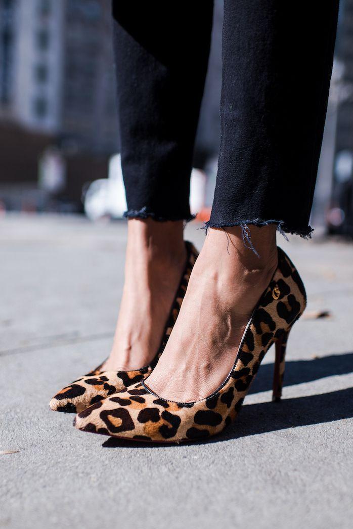 STYLE ME GRASIE - American Apparel Distressed Black Denim, Carmen Steffens Leopard print pumps / Perfect Street Style for Spring. OOTD Blogger.