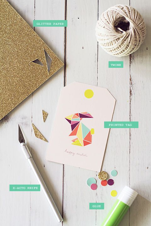 FREEBIE: Origami Bunny 'Hoppy Easter' Gift Tag » Eat Drink Chic