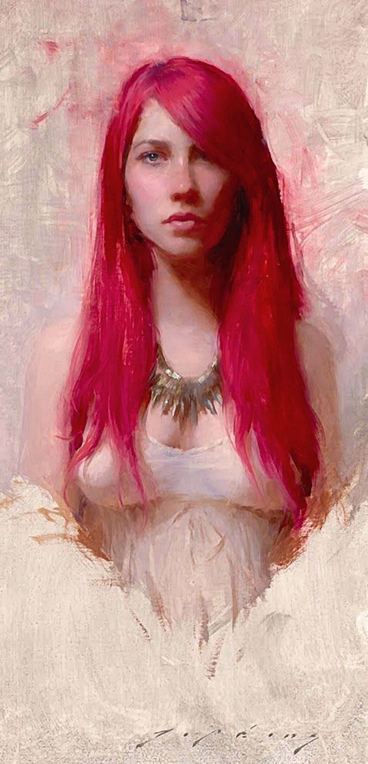"""Red"" - Jeremy Lipking (b. 1975), oil on canvas, Agoura Hills, CA {figurative representational art beautiful female redhead woman face portrait painting} lipking.com"