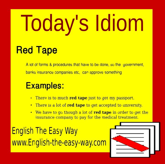 Idiom: Red tape | Idioms | Pinterest | English language ...