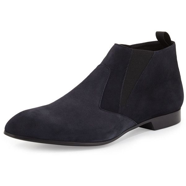 Prada Suede Chelsea Boot ($790) ❤ liked on Polyvore featuring men's fashion, men's shoes, men's boots, blue, mens pointed toe boots, mens slip on shoes, mens pointed shoes, mens blue boots and mens pull on boots