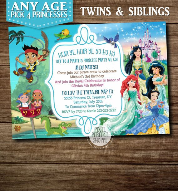 13 best Fantasy Invitations Mermaids Pirates images – Princess and Pirate Birthday Invitations
