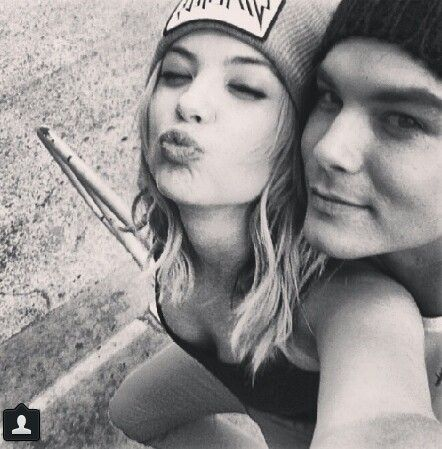 Ashley and Tyler after filming: love the beanies!