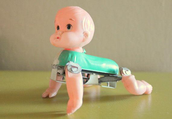 Crawling Baby Tin Toy by SkippysFunHouse on Etsy, $20.00