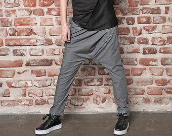 Asymmetrische broek / zwarte Drop Kruis broek / zwarte broek /