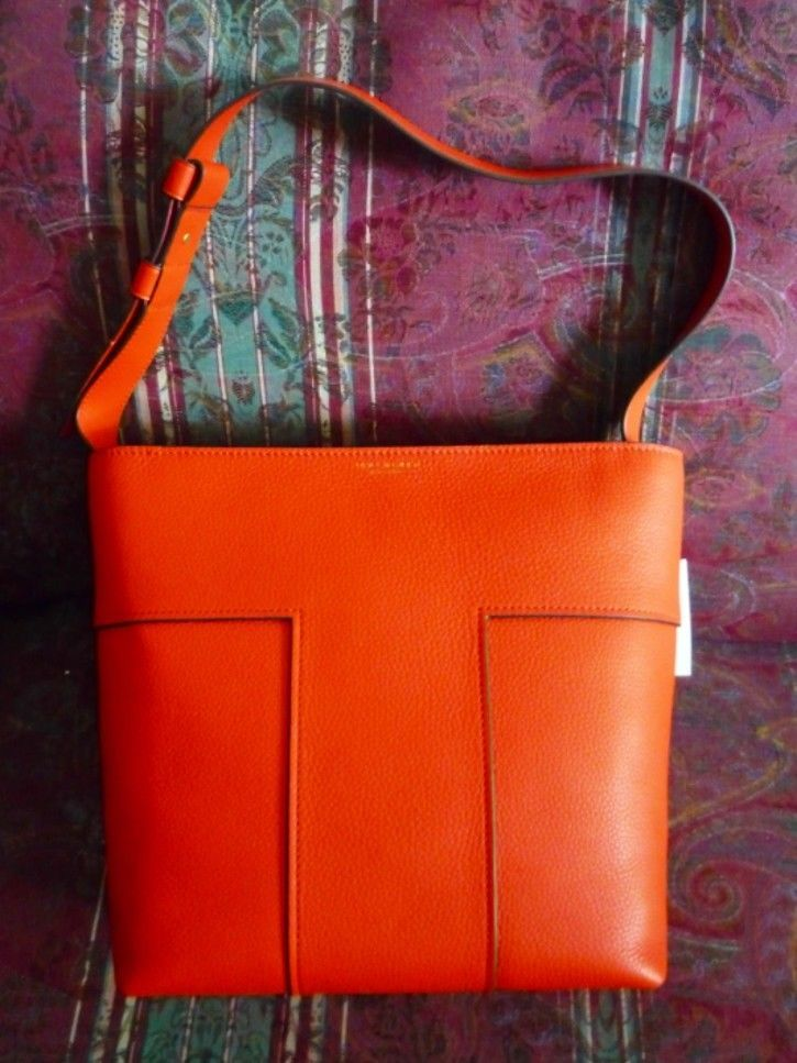 055dfbaef41f NWT  558 Tory Burch Block-T Pebbled Hobo Tote Bag 44700 Spicy Orange Free  Ship