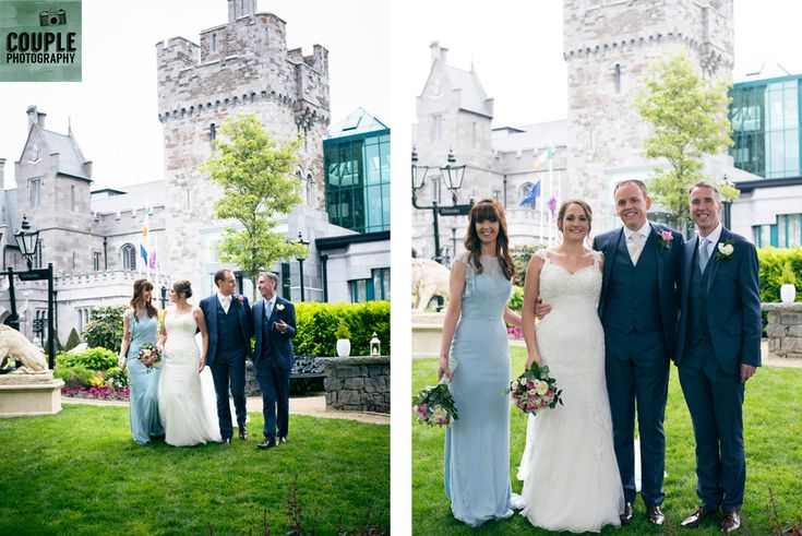 The bridal party take a stroll in front of the amazing Castle. Weddings at Clontarf Castle Hotel by Couple Photography.