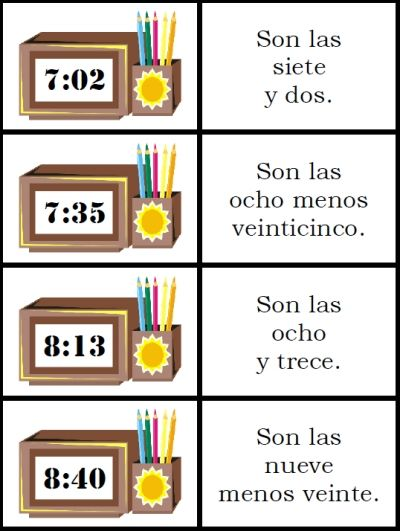 telling time in spanish printable cards for kids or adults http://espanishlessons.com/spanish-verb-conjugation/