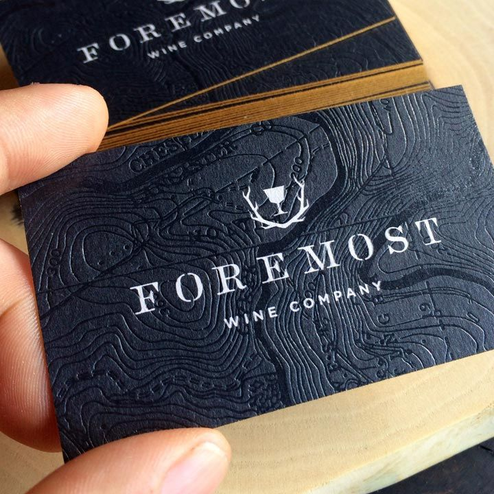 Clear Foil and Gold Metallic Business Cards // Foremost Wine Company | JukeBoxPrint.com