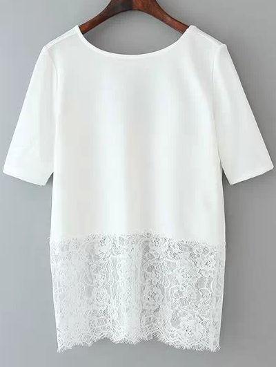 White Short Sleeve Lace Hem Backless Blouse 16.48