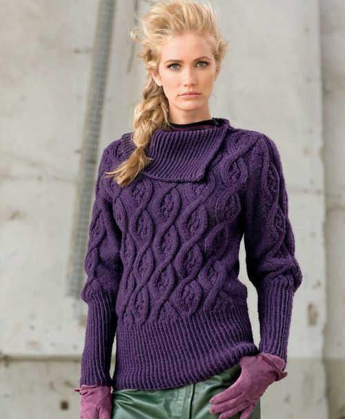 Лиловый пуловер с асимметричным воротником