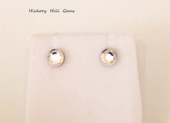 Magnetic Earrings crystal stud Silver plated by HickoryHillGems