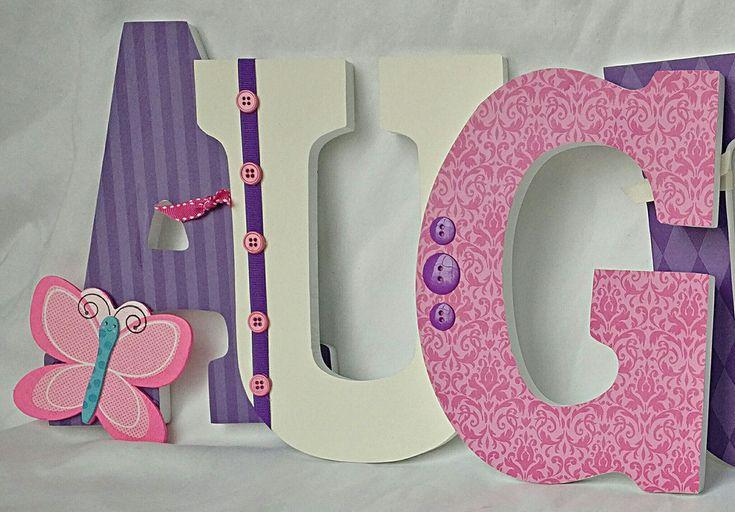 Wooden letters, nursery letters, butterfly letters, butterfly nursery letters, girl nursery letters, girl letters by JessCreativeCorner on Etsy