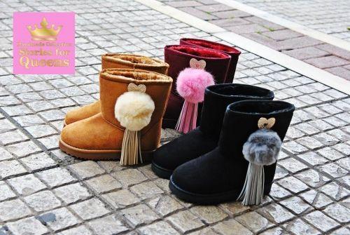 Χειροποίητα παιδικά ugg στολισμένα με γούνα, καρδιες με strass και κρόσσια.  http://handmadecollectionqueens.com/υποδηματα/παιδικα-παπουτσια/Χειροποιητα-παιδικα-ugg-με-γουνα  #handmade   #kid   #fashion   #footwear   #boots   #storiesforqueens