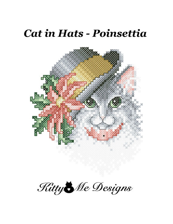 Cross Stitch Pattern PDF  Cats in Hats Poinsettia  by arcadecache, $8.95