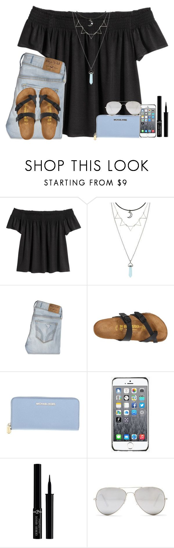 """""""Untitled #615"""" by kaye-376 ❤ liked on Polyvore featuring Hot Topic, Hollister Co., Birkenstock, Michael Kors, Fendi, Giorgio Armani and Sunny Rebel"""