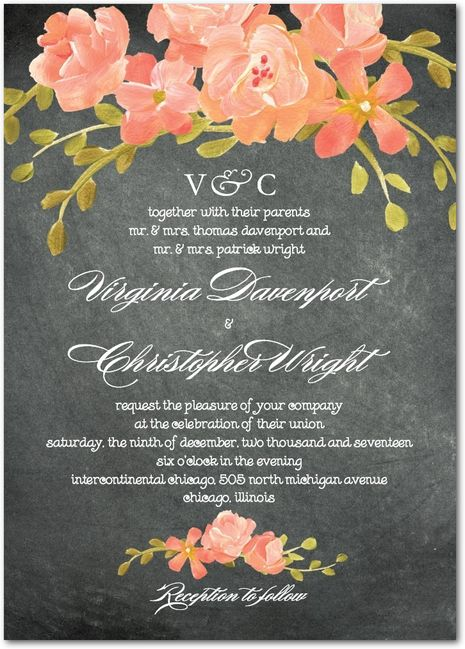 Wedding paper divas: Chalkboard floral wedding invitations (orange sherbet)