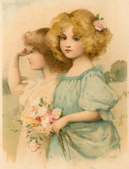 sweet vintage girls with bouquet