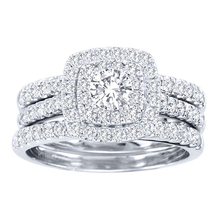 De Couer 10k White Gold 1 1/2ct TDW Diamond Double Halo Bridal Ring Set (H-I, I2) | Overstock.com Shopping - The Best Deals on Bridal Sets