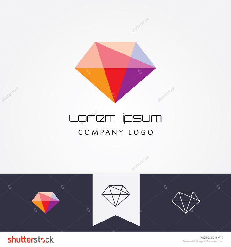 trendy flat design facet crystal gem shape logo element in multiple colors for business visual identity- black and white mono thin lined geometric icon versions included