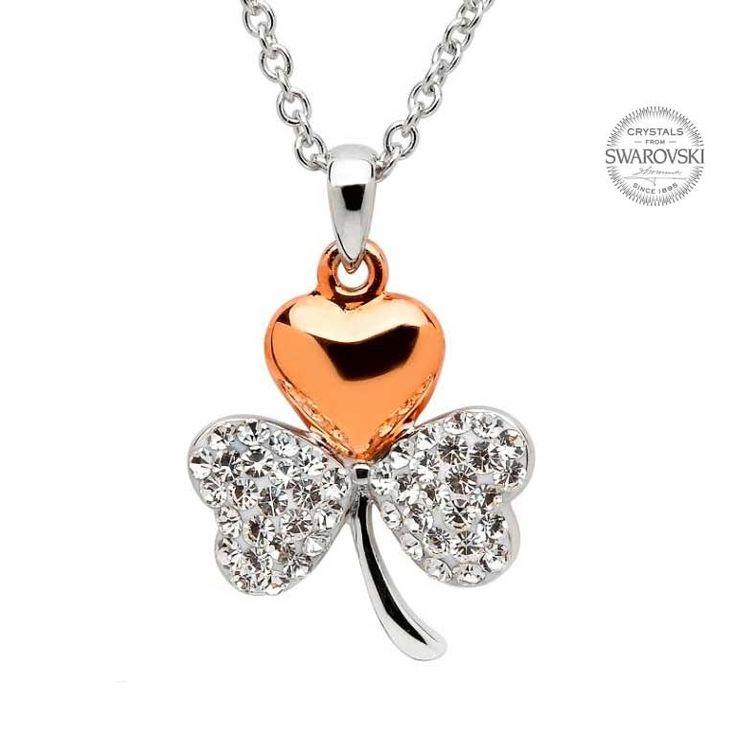 54 best irish pendant necklaces claddagh necklaces celtic gold plated shamrock pendant encrusted with swarovski crystals aloadofball Images