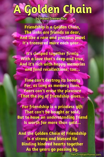 Friday Friendship Day - A Friendship Poem (A Golden Chain) by Helen Steiner Rice  #poems #friendship