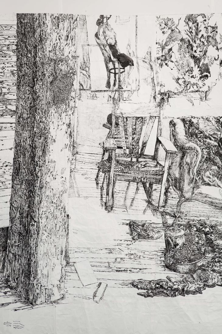 Dawn Clements: Movie (detail) 2007 Sumi ink on paper 298.5 x 1029 cm
