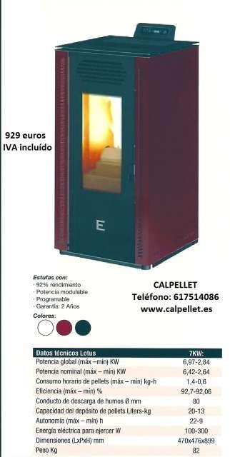. Estufa de biomasa marca EIDER, modelo LOTUS 7 B. V�lida para calefactar estancias de hasta 75 metros cuadrados. En acabado acero pintado color burdeos. Env�os a toda la pen�nsula. www.calpellet.es