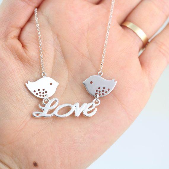 Birds In Love Necklace  Bird Necklace  Silver bird by MonyArt, $23.80