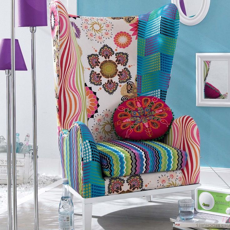 256 best images about funky painted upholstered for Ohrensessel patchwork