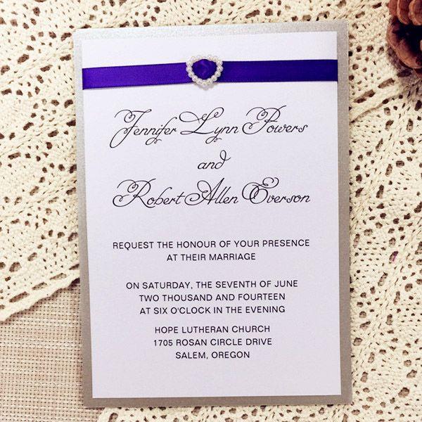 Elegant Purple Ribbon With Heart Pearl Buckle Layered Wedding Invitation  Cards EWLI014 As Low As $1.25