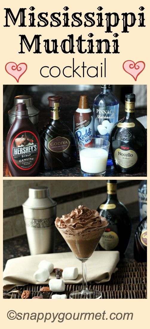 Mississiippi Mudtini cocktail, all the flavors of Mississippi Mud in a drink. An easy chocolate martini recipe that is simple to make with Pinnacle Marshmallow Vodka and Godiva Chocolate Liqueur. The BEST party drink! Cheers! SnappyGourmet.com