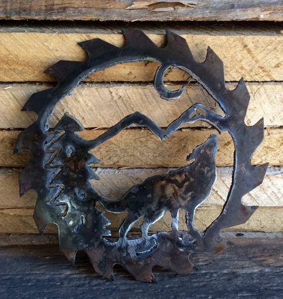 saw blade plasma art. wolf and moon mountain scene in 7.25 circular saw blade by tooshai plasma art r
