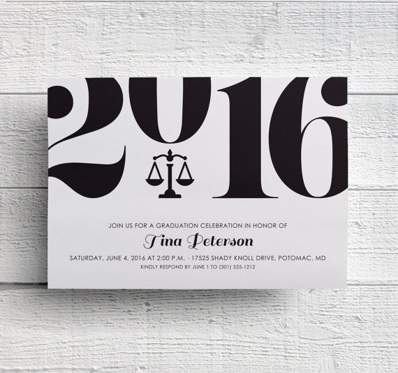 law school graduation party invitation featuring scales of justice perfect for law graduate announcement or passing the bar celebration layout