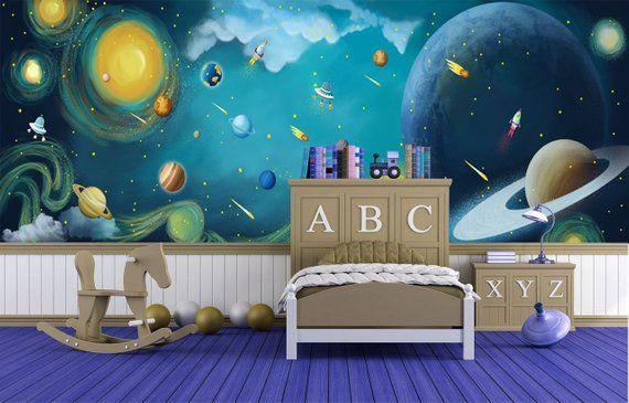 Fantastic Space Kids Wallpaper Baby Bedroom Wall Mural Self