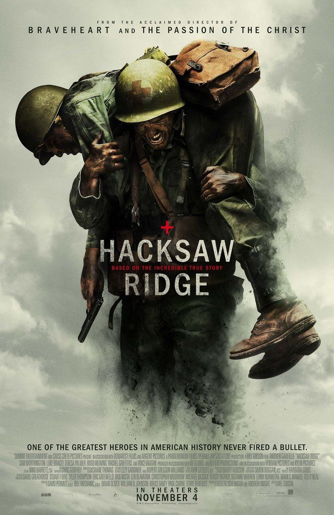 Hacksaw Ridge: Best Picture - Oscar Nominees 2017 - Saw it last night.  Gruesome!  But a really moving story of an Army medic whose faith supports him through the rescue of 75 comrades at arms.