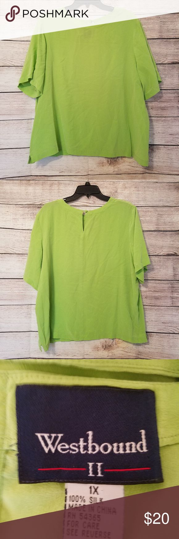 1X Green 100% Silk Short Sleeve Top Women's Plus Size 1X Westbound Green Short Sleeve 100% Silk Top  This item is pre-owned and in good condition.  ***RUNS SHORT IN THE TORSO!***  Please know your measurements before bidding!  Chest measures: 48 inches relaxed Length: ~24 inches from top of shoulder to hem.  Comes from a non smoking, pet friendly home! Westbound Tops