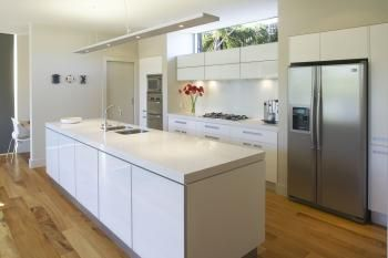 open plan kitchen love the layout, maybe too stark for my taste