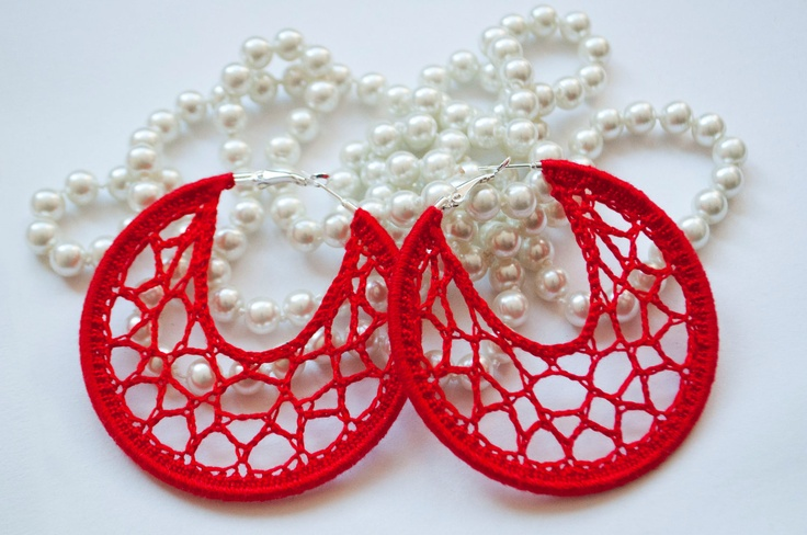 Crocheted Spider  Hoops Earings Red fishnet Ring Dangle Gossamer Lace Jewelry for you  for Summer. $15.00, via Etsy.