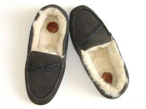 Boys Moccasin Grey Suede Slippers, Children's, Kids, Boy Slipper