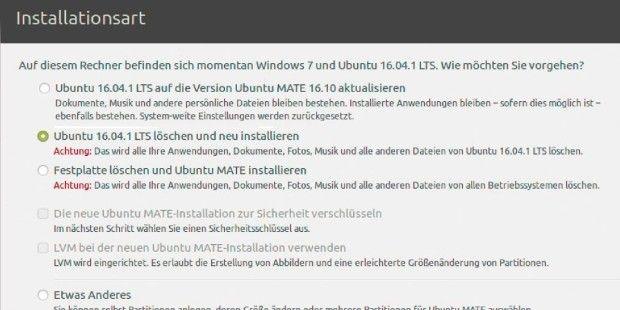 Bei Installationen auf Festplatte erkennt der Ubuntu-Installer die Situation oft selbständig. Soll Linux auf USB, müssen Sie in jedem Fall manuell nachhelfen.
