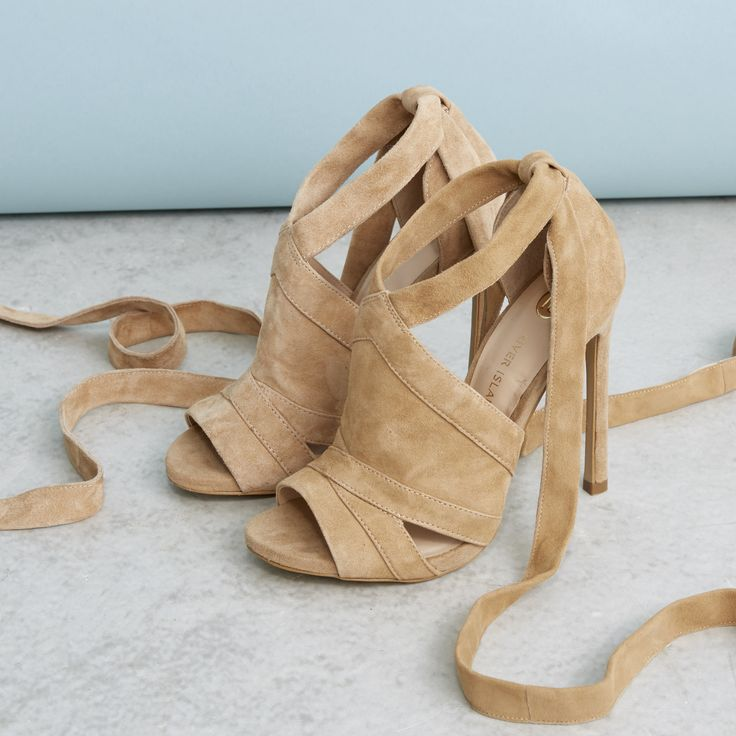 Our Essential Edit: Beige suede tie up shoe boots $130.00