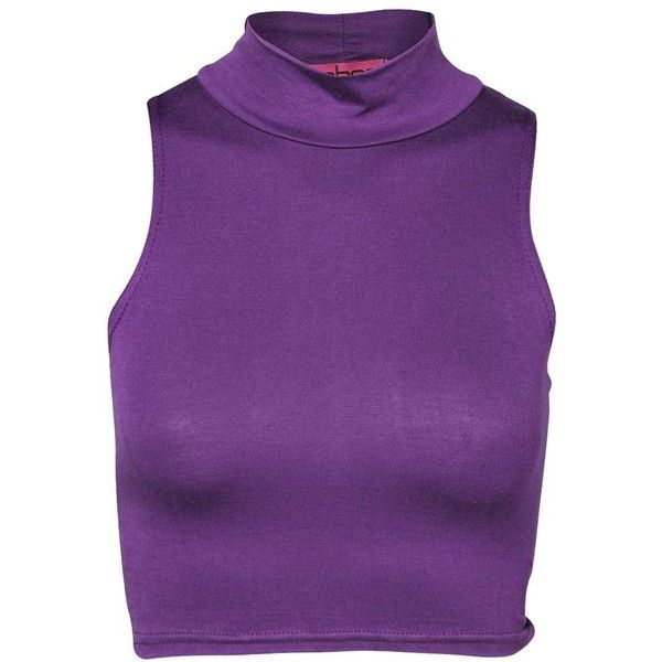 Tori High Neck Crop Top (8,21 BRL) ❤ liked on Polyvore featuring tops, & - clothing - shirts, purple, shirts, purple crop top, shirt crop top, high neckline tops, cropped tops and high neck shirts