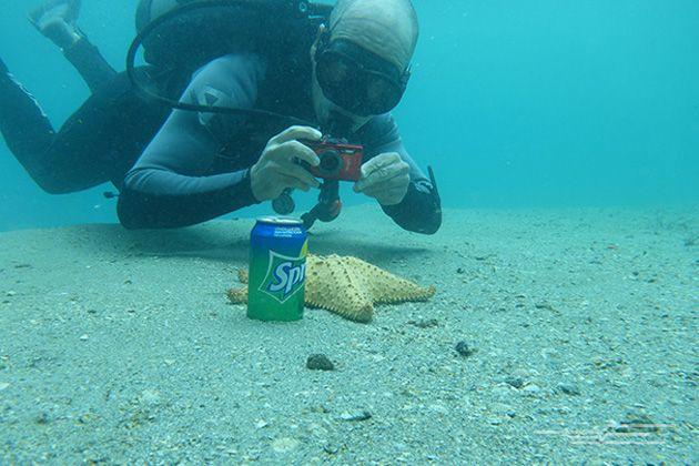 Our underwater expert Lazaro Ruda testing the Olympus Tough TG-3, as shot with the Panasonic Lumix DMC-TS5.