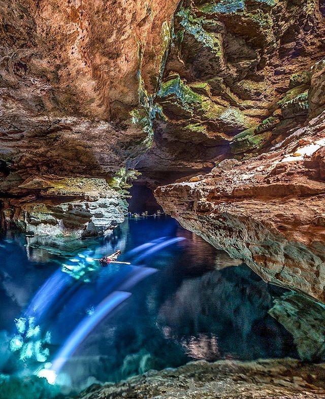 Secret Caves in Brasil! Location: Floating in Poço Azul - Chapada…