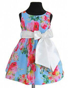sukienka w kolorowe kwiaty - sukienki dla dziewczynek