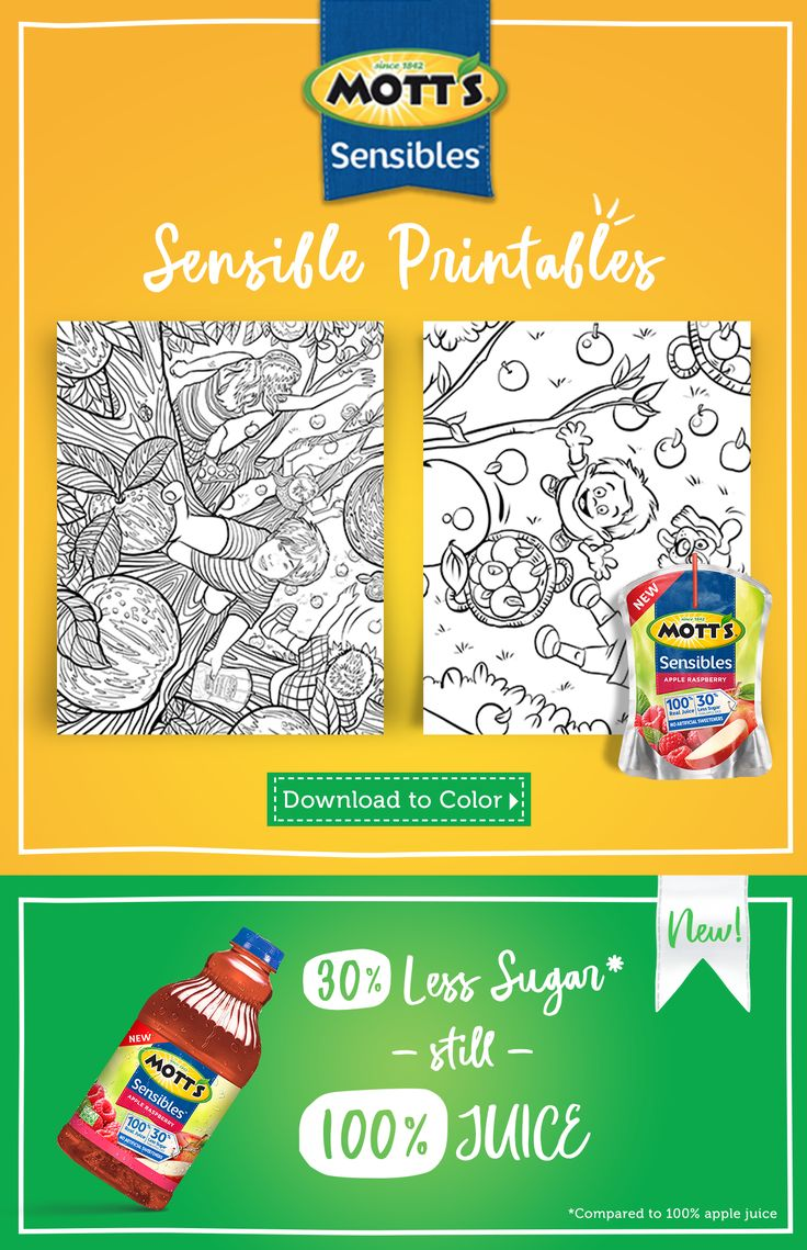 Sip on new Mott's Sensibles and color our Sensible Printables with your little one!