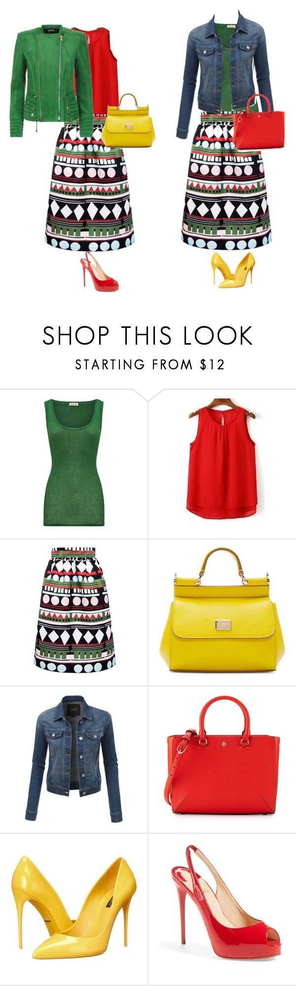 """цветовой контраст 1"" by elenasamsonova on Polyvore featuring American Vintage, Edit, Dolce&Gabbana, LE3NO, Tory Burch, Christian Louboutin and Balmain"